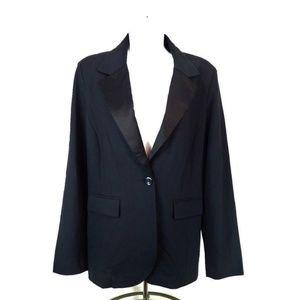 CAbi Ponte Knit Satin Lapel Tuxedo Blazer XL #701
